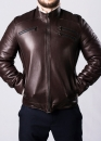 Winter leather men's jacket with fur