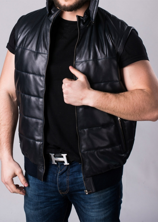 Кожаный Жилет-пуховик мужской