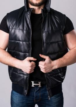 Кожаный Жилет-пуховик мужской JPHL1I