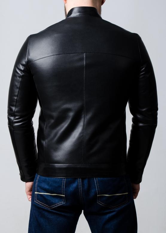 Демисезонная кожаная куртка-косуха мужская
