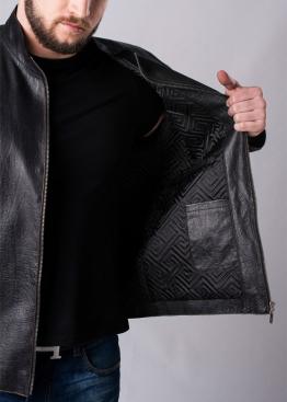 Осенняя приталенная куртка кожаная мужская MLK1B