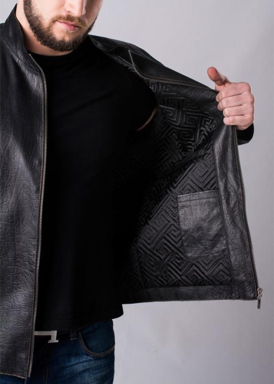 Осенняя приталенная куртка кожаная мужская