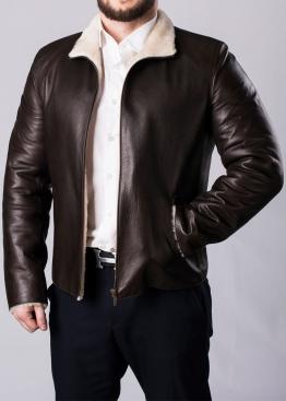 Зимняя кожаная мужская куртка с мехом MLK2KV