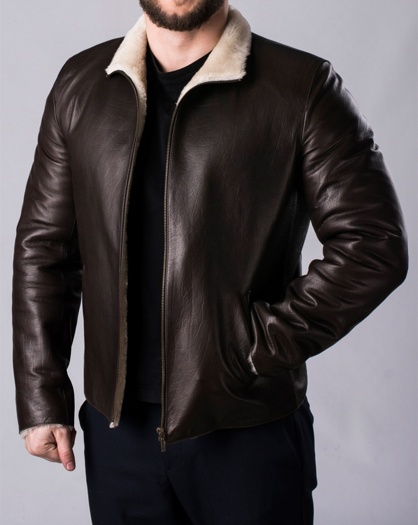 c34c09cf472a5 Зимняя кожаная мужская куртка с мехом MLK2KV