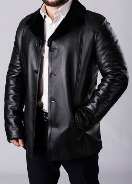 Winter leather coat with fur for men N65L2BB