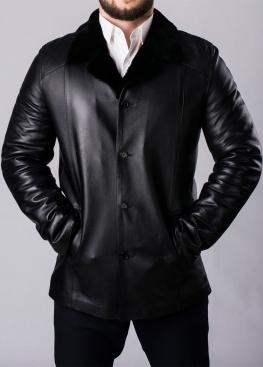 Зимнее кожаное пальто на меху мужское N65L2BB