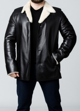 Winter leather short coat with fur N65L2BV