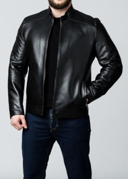 Осенняя кожаная куртка мужская приталенная NJARL1B