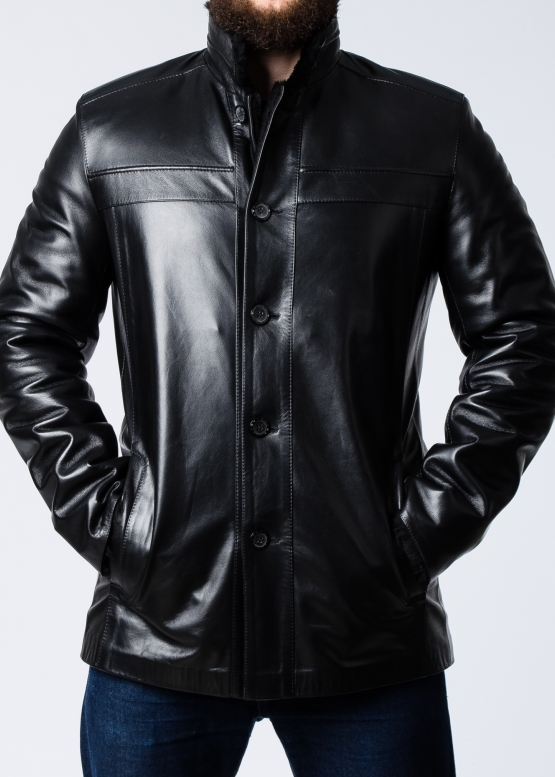 Зимнее кожаное пальто на меху мужское