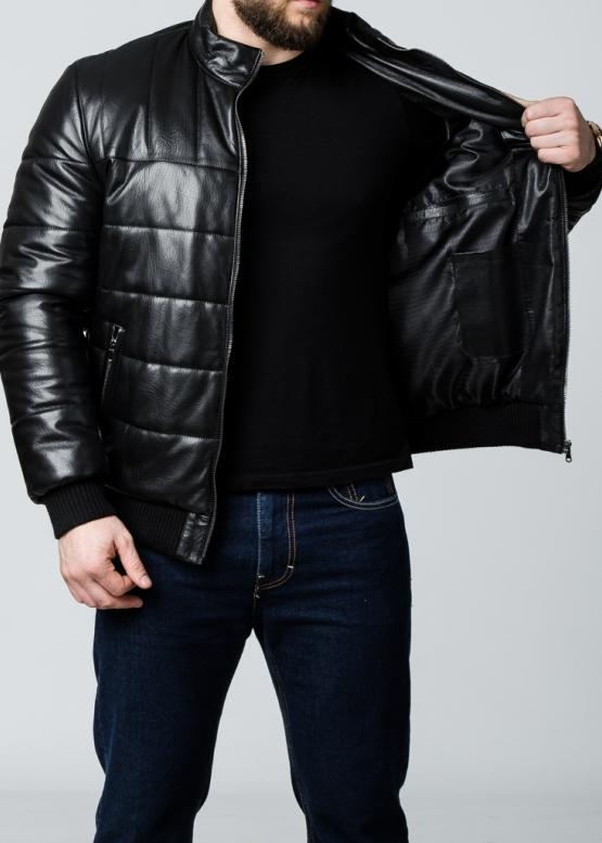 Осенняя кожаная мужская куртка под резинку