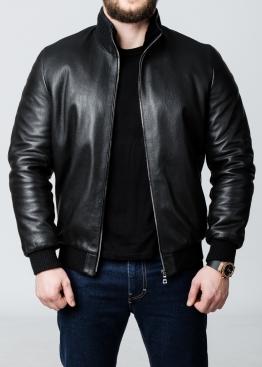 Зимняя кожаная куртка с мехом под резинку TRS2BB