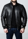 Winter leather jacket with fur under the elastic band
