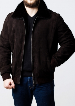 Winter suede jacket with a mink collar TRZ2KN