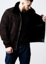 Зимняя замшевая куртка  норковым воротником