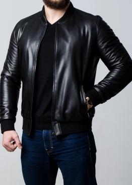 Весенняя кожаная мужская куртка под резинку ATRL0B