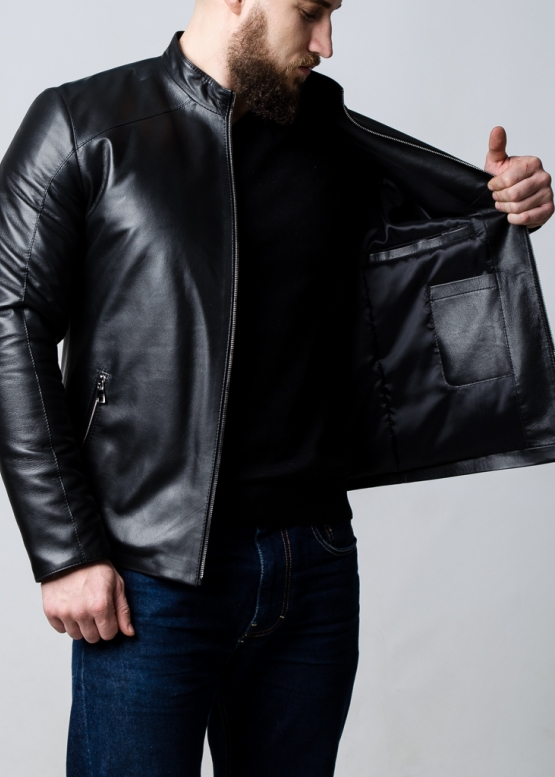 Spring leather fitted jacket for men
