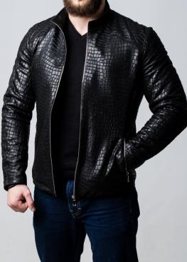 Осенняя приталенная куртка кожаная KROKF11B