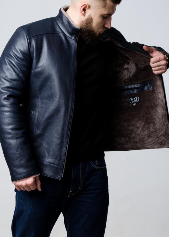 Зимняя кожаная куртка приталенная