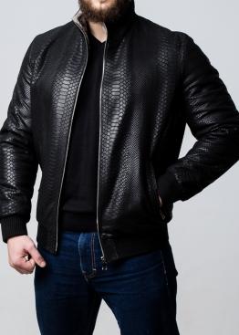 Winter leather jacket under a Python elastic band TRNPITL2BK