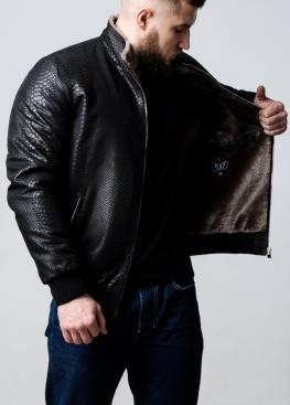 "Зимняя  кожаная куртка под резинку ""Питон"" TRNPITL2BK"
