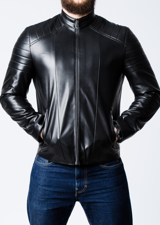 Spring fitted leather jacket for men