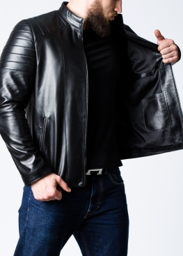 Spring fitted leather jacket for men MK1L0B