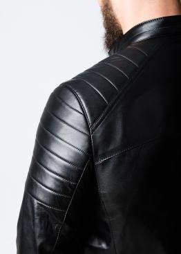 Весенняя приталенная кожаная куртка мужская MK1L0B