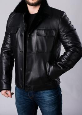 Приталенная кожаная зимняя куртка на меху P88A2BB