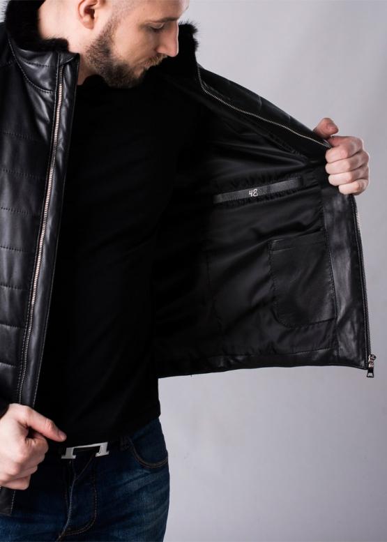 Пуховик кожаный мужской c мехом из норки