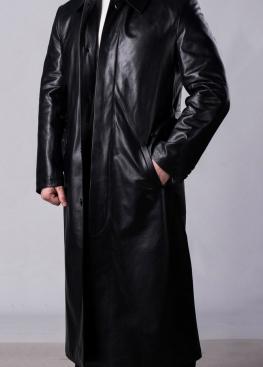 Длинный плащ кожаный мужской PLF1B