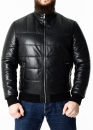 Autumn leather down jacket with elastic