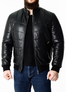 Autumn leather down jacket with elastic TRPHL1B
