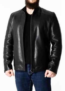 Осенняя кожаная куртка мужская приталенная NJARS1B