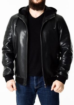 Autumn leather jacket with a hood KTRS1B