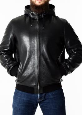 Осенняя кожаная куртка с капюшоном KTRS1B