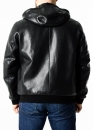 Autumn leather jacket with a hood