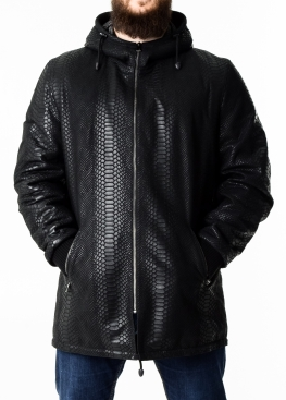 Autumn leather parka python with a hood PARPITL1B