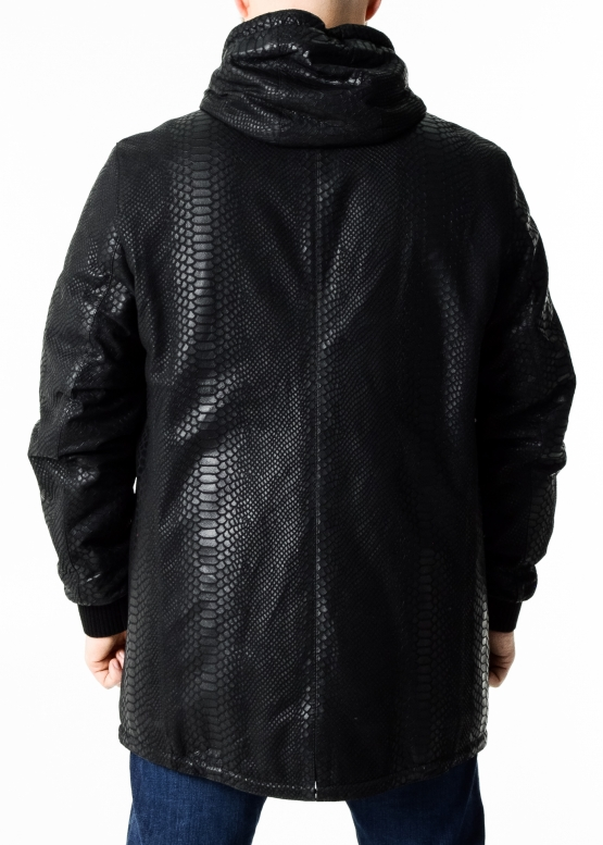 Autumn leather parka python with a hood