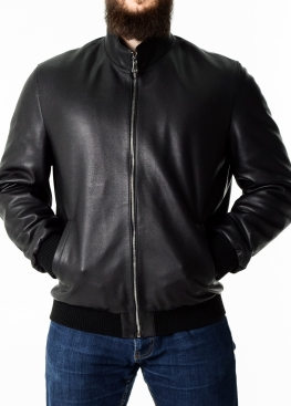 Autumn calfskin jacket with elastic band TROP1B