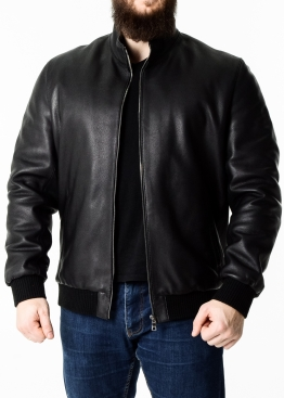Осенняя куртка из кожи теленка под резинку TROP1B