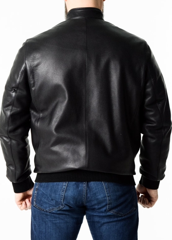Autumn calfskin jacket with elastic band
