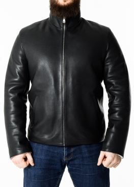 Winter leather jacket men calfskin MLOP2BV
