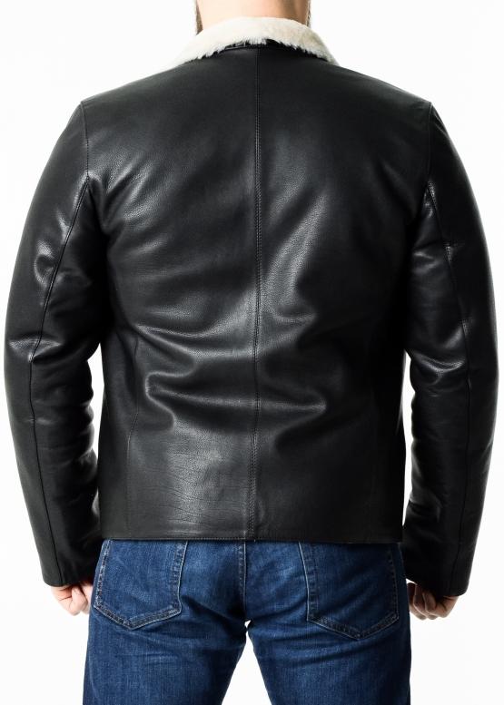 Winter leather jacket men calfskin