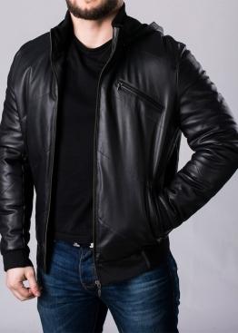 Кожаный пуховик мужской с капюшоном SPHL1B