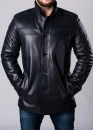 Winter leather men's coat with fur