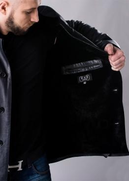 Зимнее кожаное мужское пальто на меху STL2IB