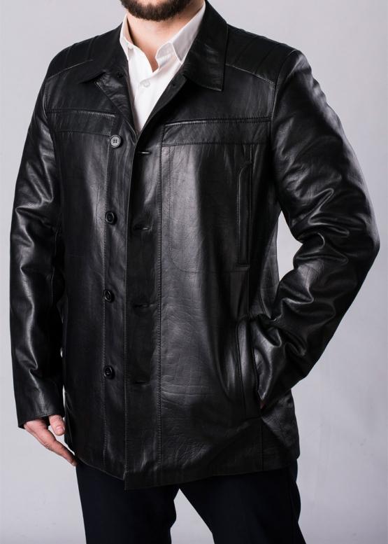 Осеннее кожаное пальто мужское