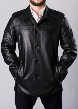 Осеннее кожаное пальто мужское STSK1B