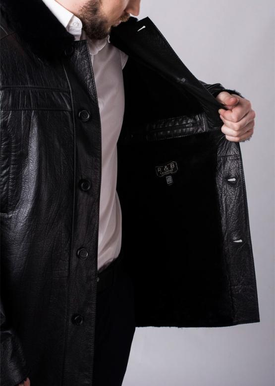 Зимнее кожаное пальто на меху
