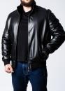 Зимняя кожаная мужская куртка с мехом под резинку